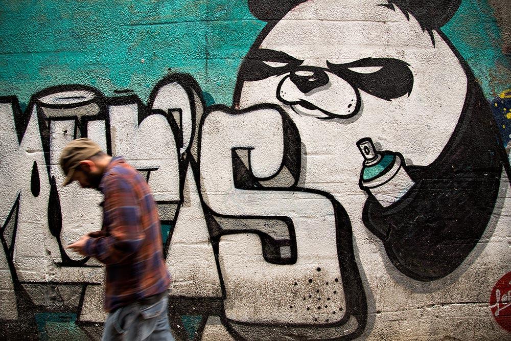 Panda Bear Graffiti in Galata, Istanbul.