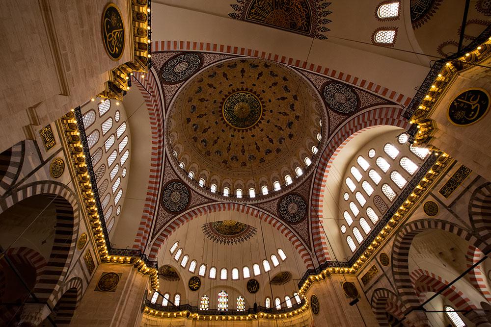 Inside Süleymaniye Mosque in Istanbul, Turkey.