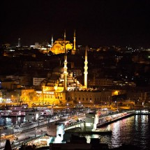 The view of our 360 terrace - In front: Galat Bridge &amp; New Mosque, Istanbul.