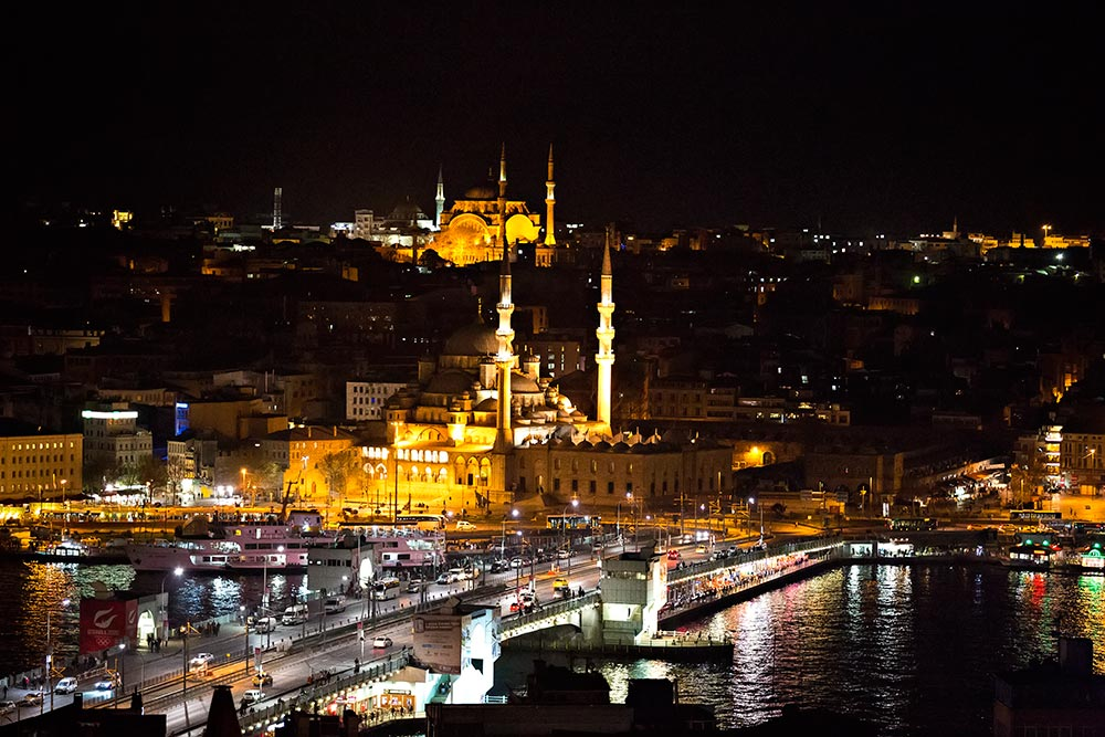 The view of our 360° terrace - In front: Galat Bridge & New Mosque, Istanbul.