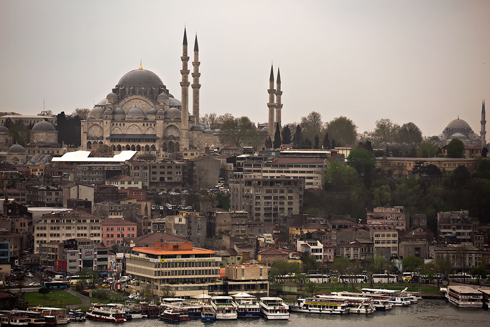 View of Süleymaniye Mosque from the Galata Quarter in Istanbul, Turkey