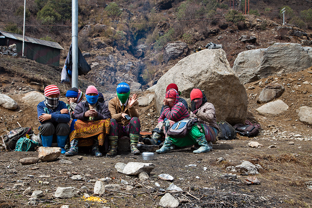 Workers up at Nathu La Pass near Lake Tsongmo in Sikkim.
