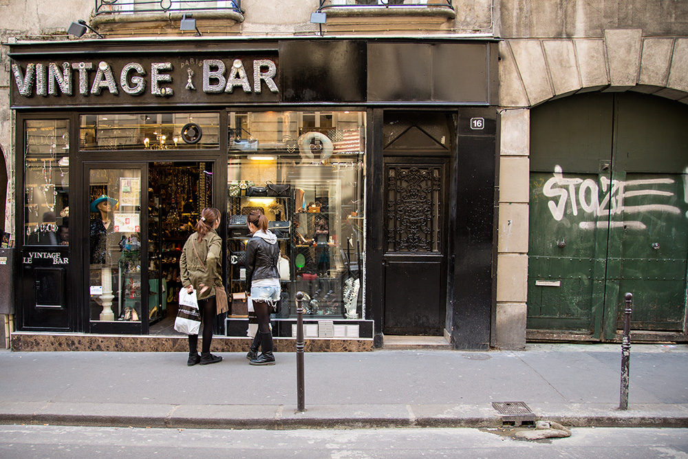 Vintage bar in Le Marais, Paris.