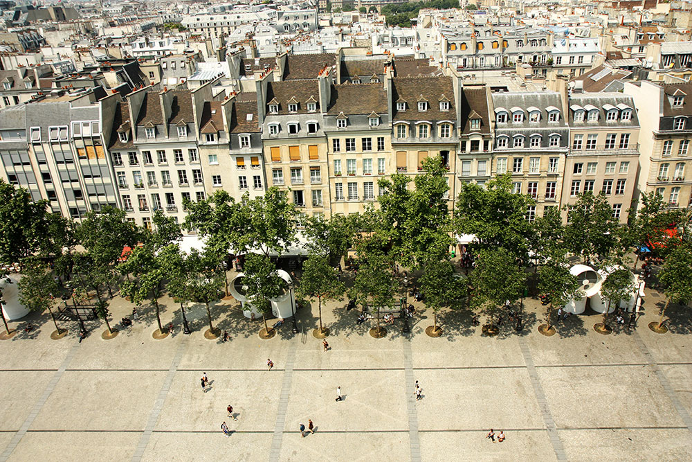 The View from Centre Pompidou in Paris, France.