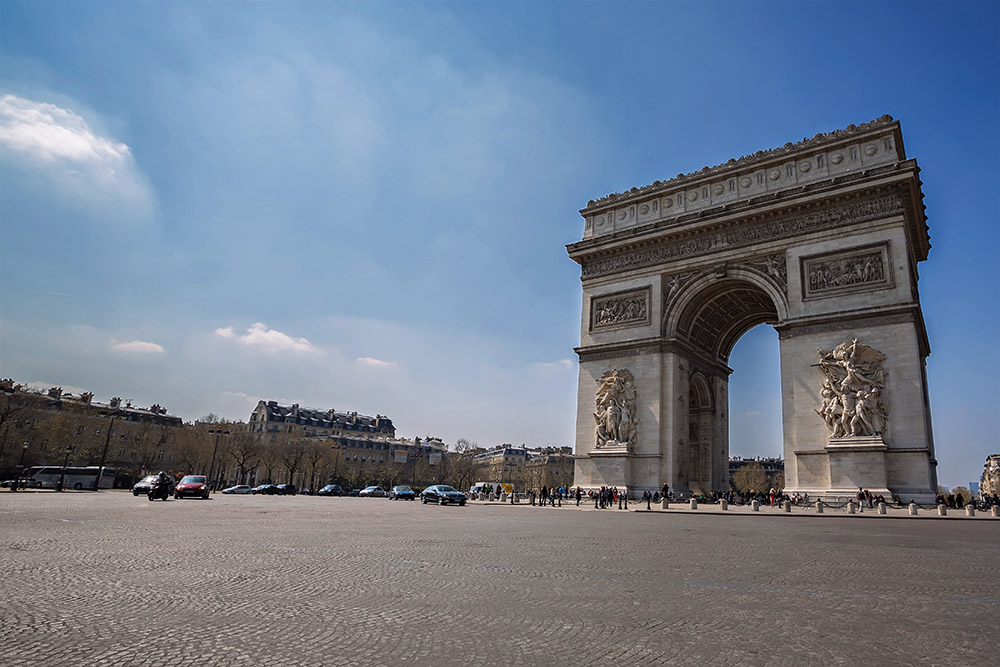 The famous Arc de Triomphe in Paris, France.