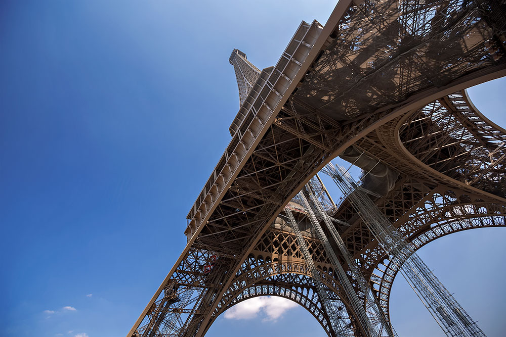 The famous Eiffel Tower in Paris, France.