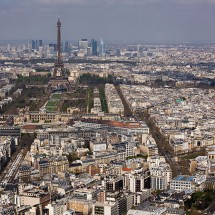 The view of the Eiffel Tower from Tour Montparnasse in Paris, France.