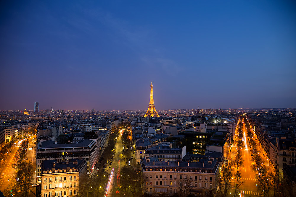 The view of the Eiffel Tower from the Arc de Triomphe in Paris, France.