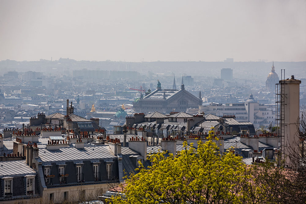 The view of Paris from the Basilica of Sacré-Cœur.