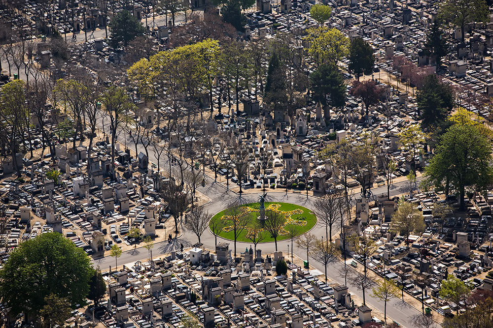 The view of Montparnasse Cemetery from Tour Montparnasse in Paris, France.
