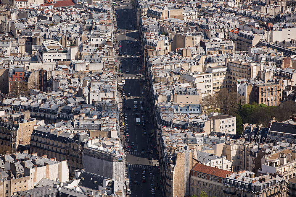 The view from Tour Montparnasse in Paris, France.