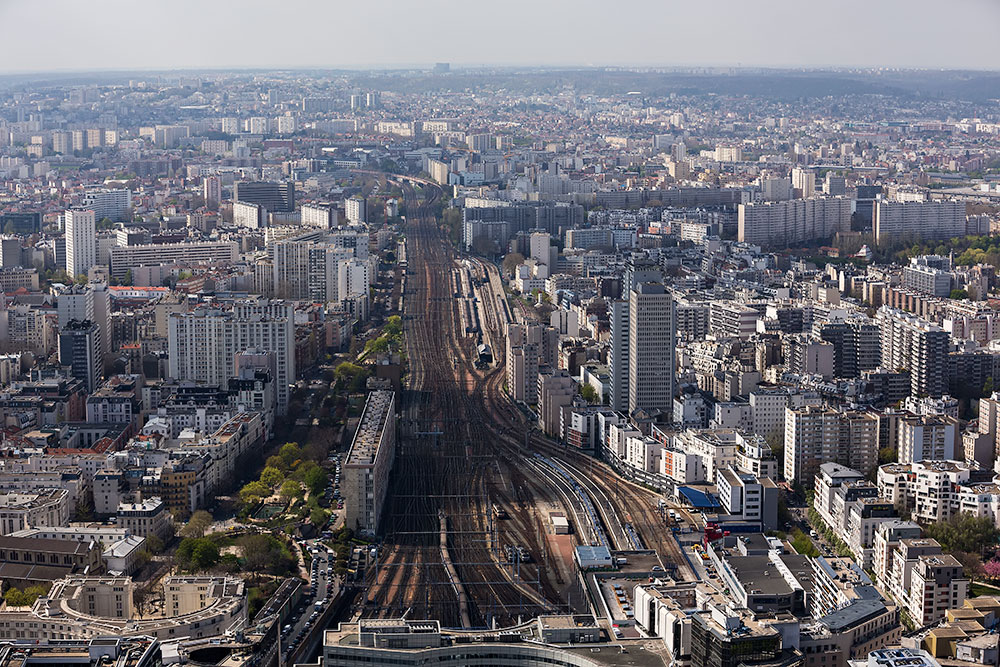 The view of Gare Montparnasse from Tour Montparnasse in Paris, France.