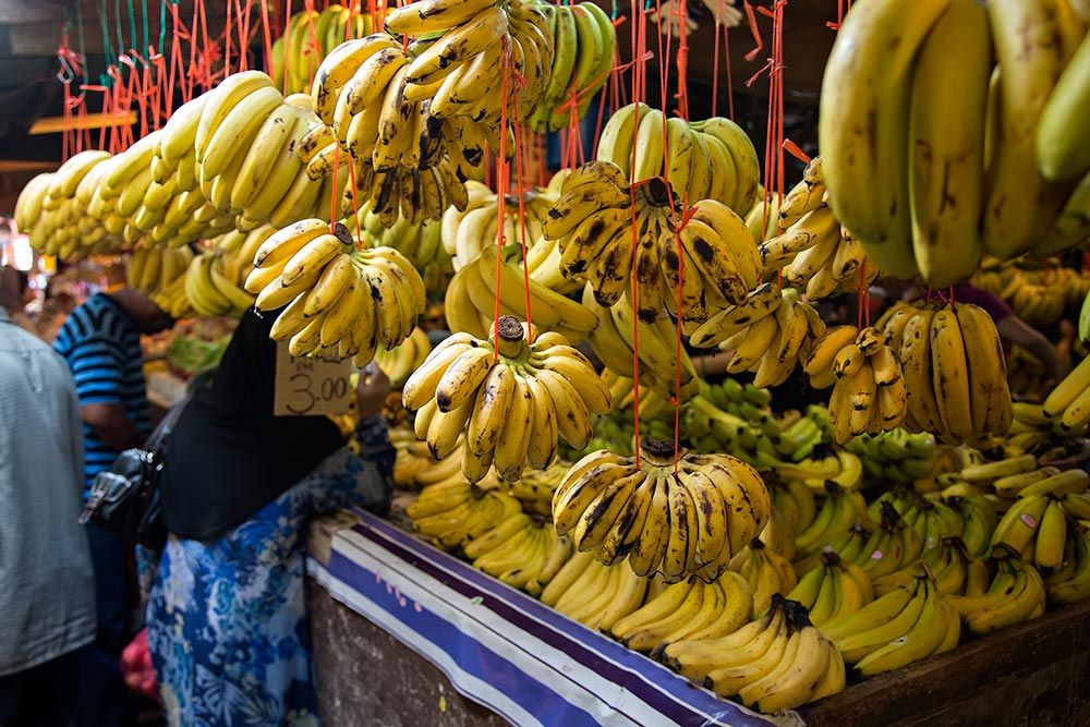 walking through the banana section at Chow Kit market in Kuala Lumpur, Malaysia.