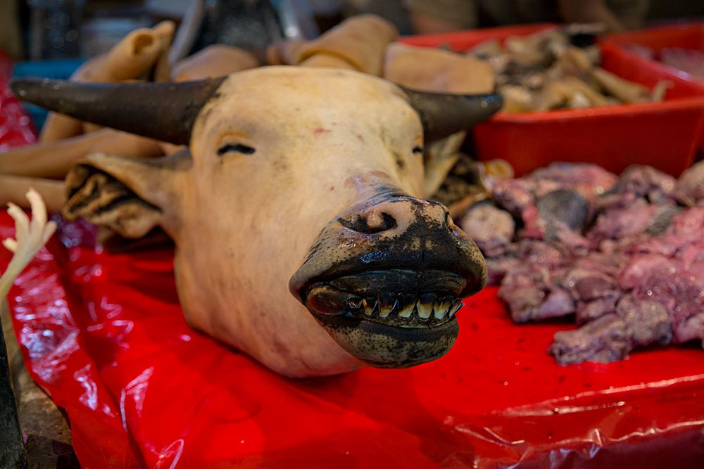 Smiling cow's head at Chow Kit market in Kuala Lumpur, Malaysia.