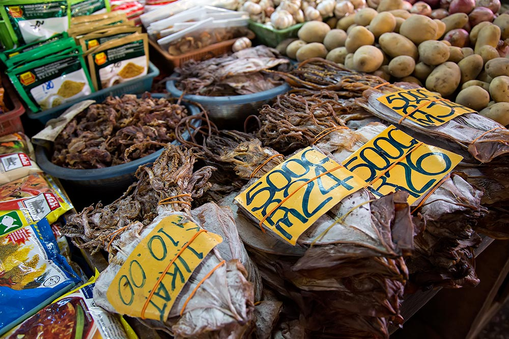 Dried squid at Chow Kit market in Kuala Lumpur, Malaysia.