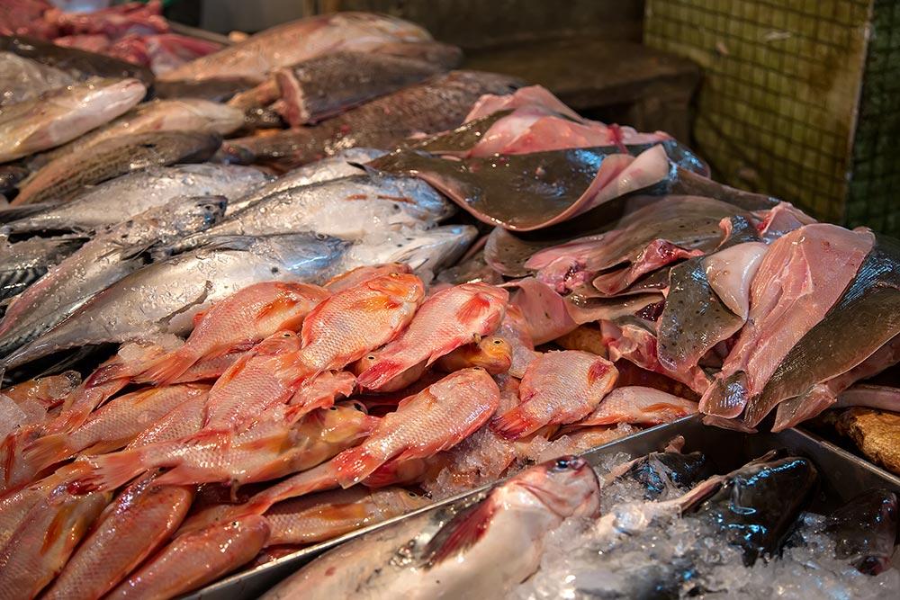 Fresh fish at Chow Kit market in Kuala Lumpur, Malaysia.