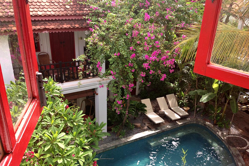 The Golden Banana Hotel in Siem Reap, Cambodia - Pool View from Room.