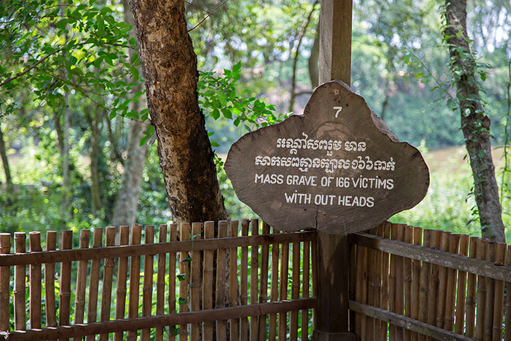 Mass grave at the Killing Fields of Choeung Ek in Phnom Penh, Cambodia.