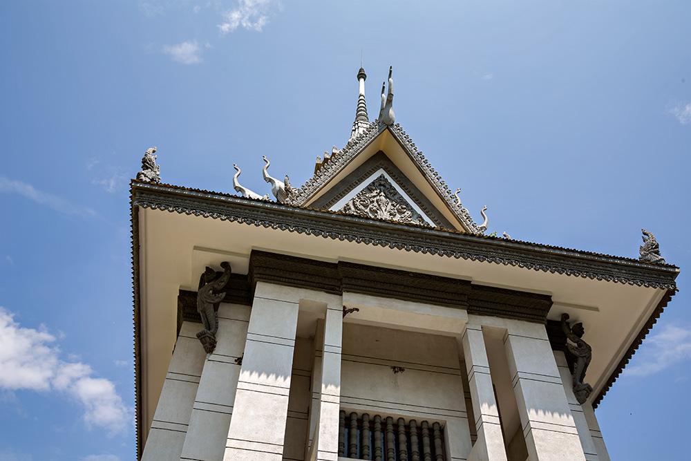 The stupa in the center of the Killing Fields of Choeung Ek in Phnom Penh, Cambodia.