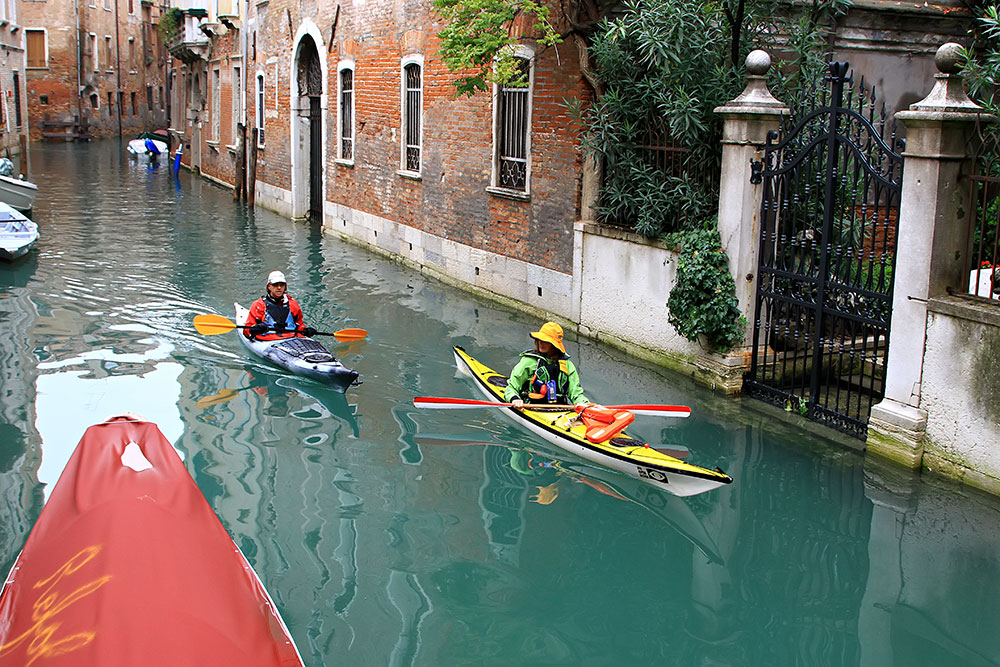 A Kayak Ride through the canals of Venice, Italy.