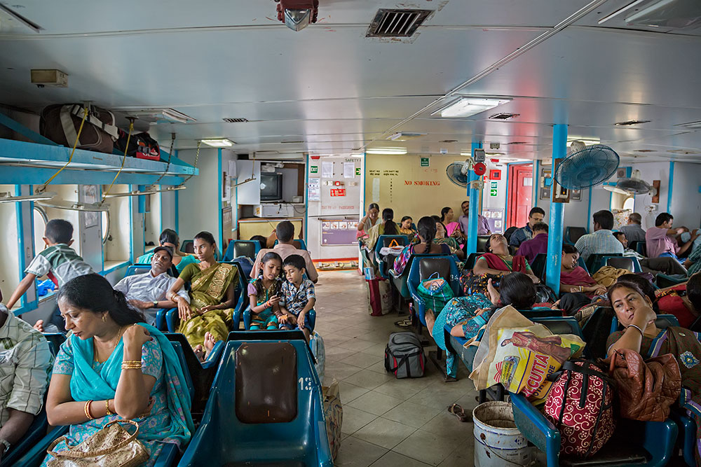 "The passenger cabin of the ferry ""Jolly Buoy"", Andaman Islands."