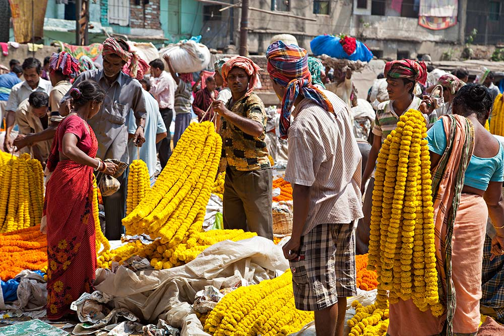 At Mullik Ghat flower market near Howrah bridge in Kolkata, India.