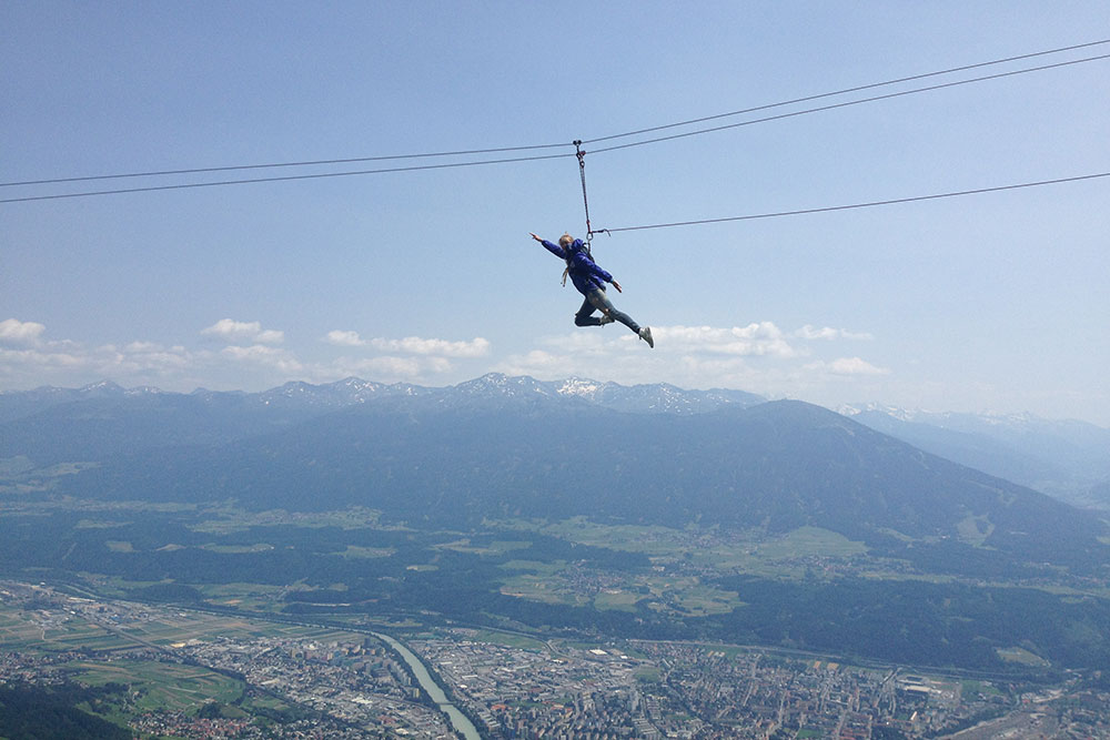 Last Sunday at Seegrube - Flying fox at 2000 metres just above Innsbruck.