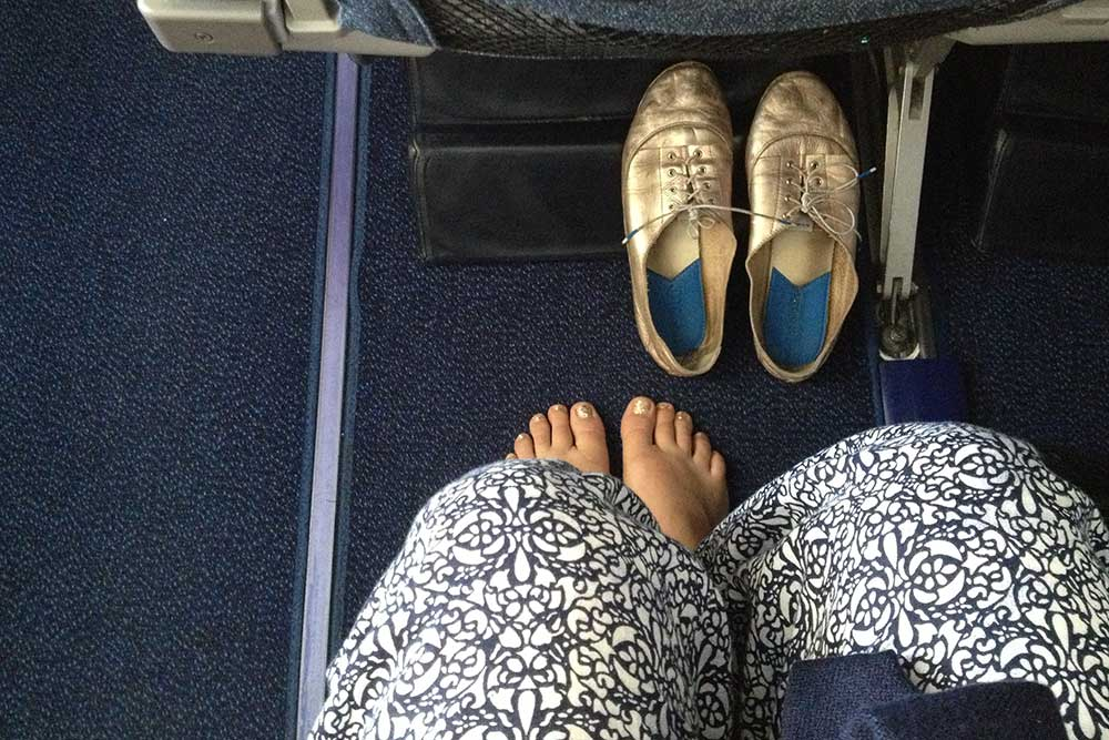 On the plane back from Mauritius.