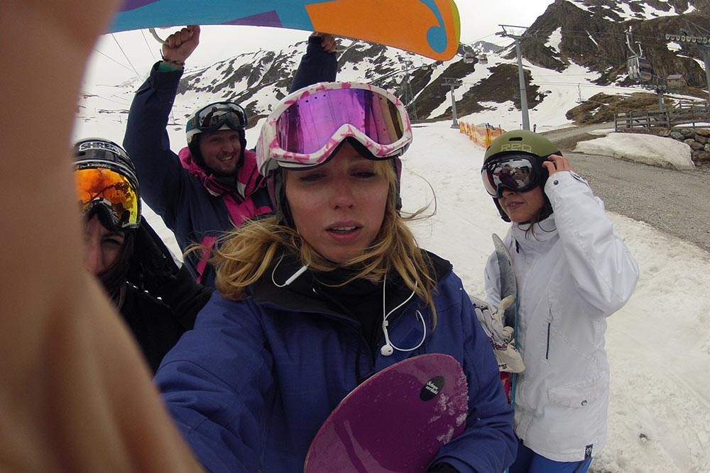 Home is where my friends are crazy enough to go snowboarding with me in summer.