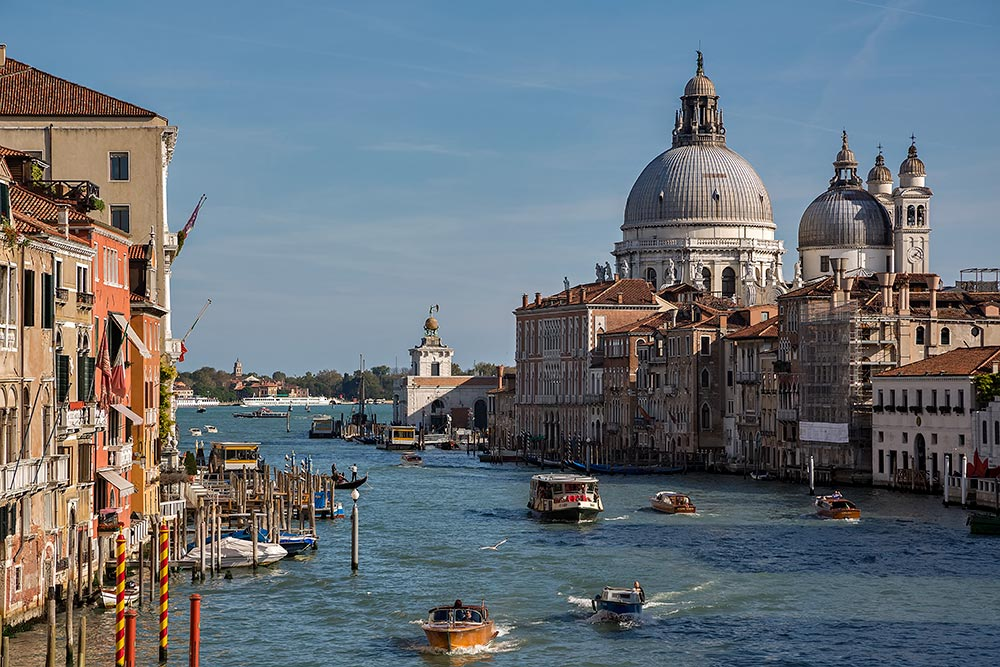 The Grand Canal in Venice forms one of the major water-traffic corridors in the city. Public transport is provided by water buses and private water taxis.