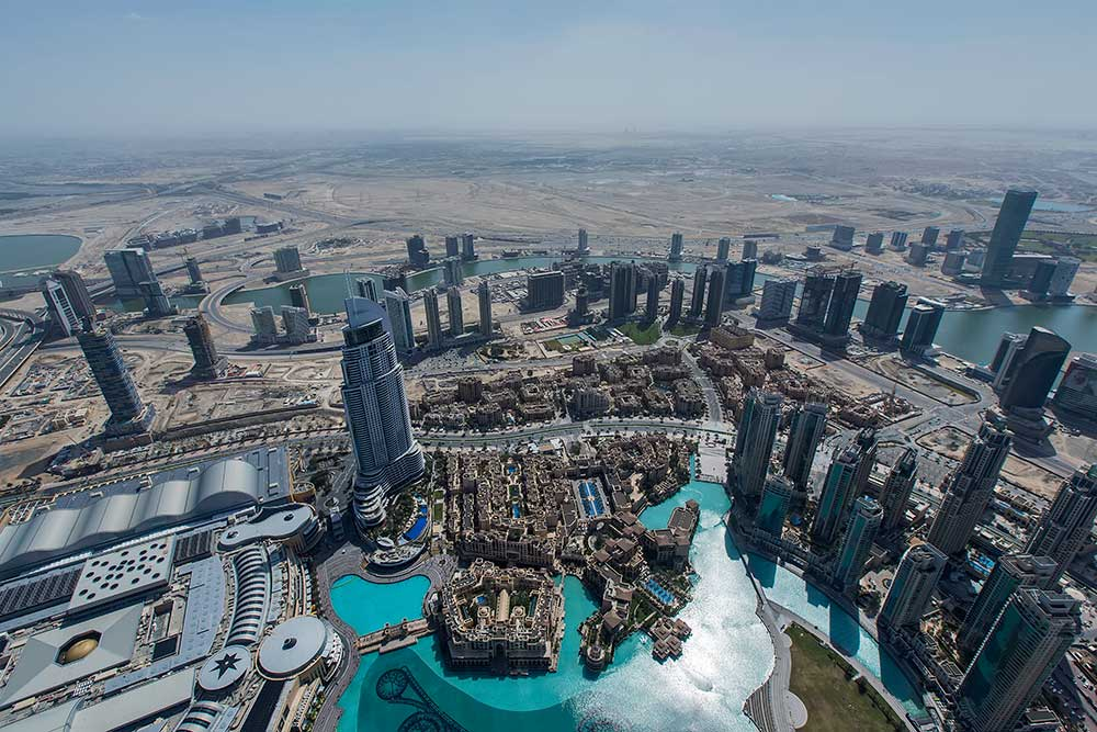 "The view from ""At the Top"" in the Burj Khalifa in Dubai."