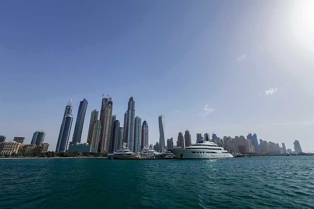 Dubai Marina is an artificial canal city, built along a 3 km stretch of Persian Gulf shoreline.