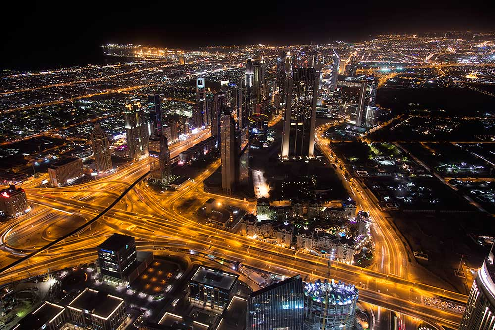 "The view of the Financial District from ""At the Top"" in the Burj Khalifa in Dubai."