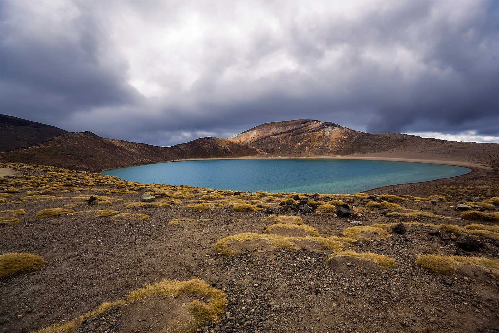 Blue Lake on the Tongariro Alpine Crossing, New Zealand.