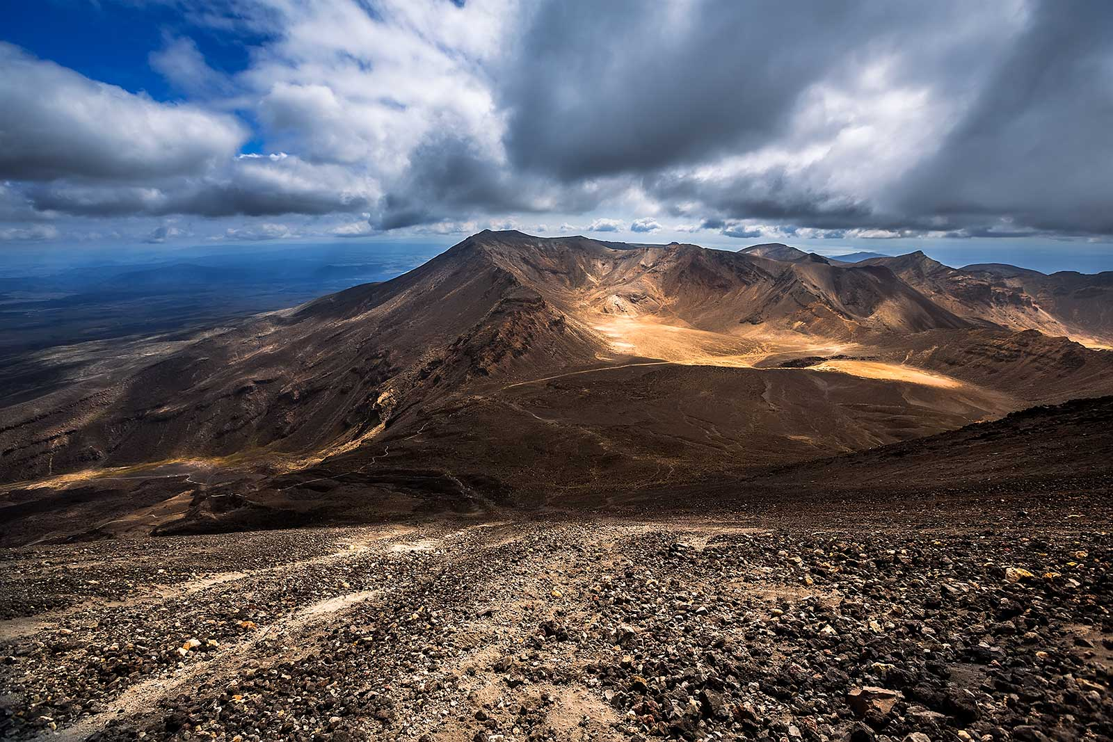 The view from the top of Mt. Ngauruhoe during the Tongariro Alpine Crossing, New Zealand.