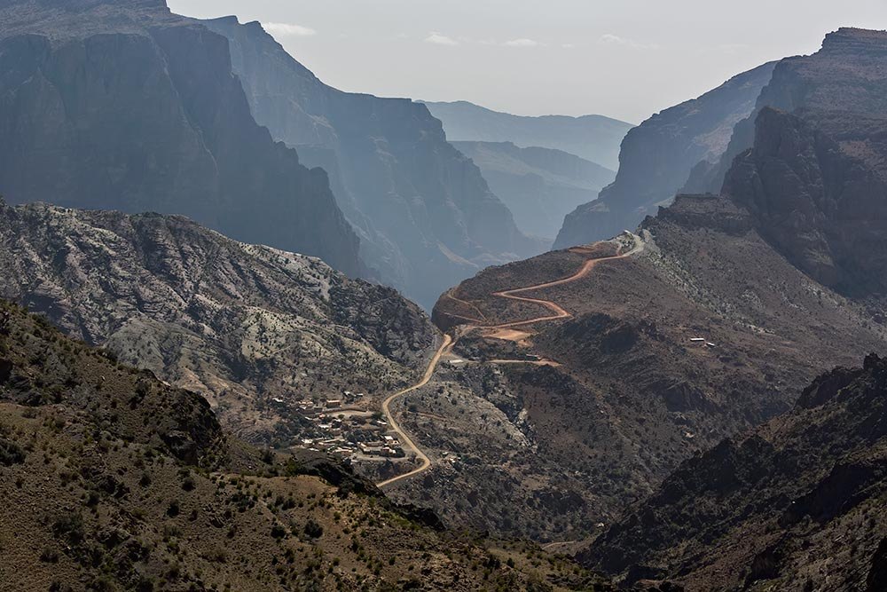 Unpaved mountain road in Oman.
