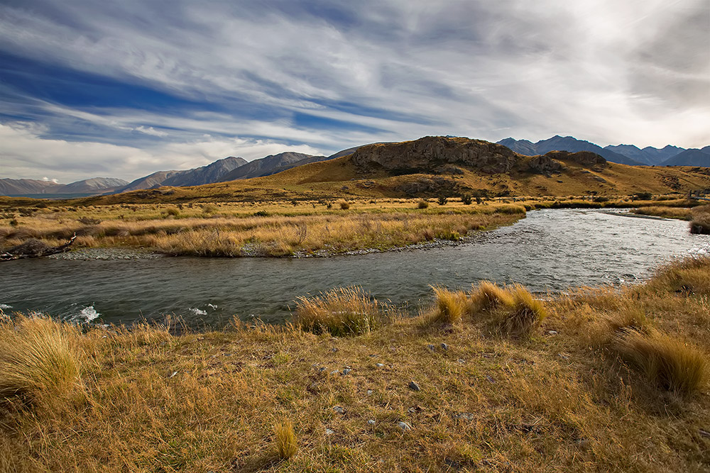 The landscape of the Rangitata Valley - aka Rohan - in Canterbury, New Zealand.