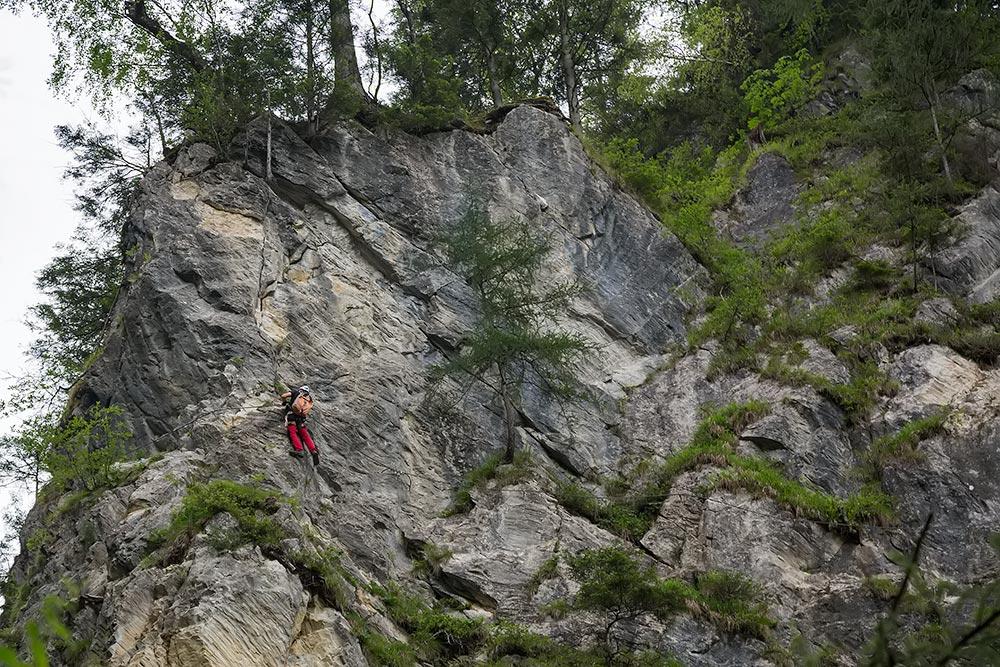 A trill-seeking climber at the Kitzlochklamm in Salzburg, Austria.