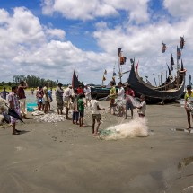 Fishing boats at Cox's Bazar in Bangladesh.