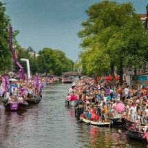 80 boats started from Westerdok harbour down the Prinsengracht | Amsterdam Canal Pride Parade 2014.