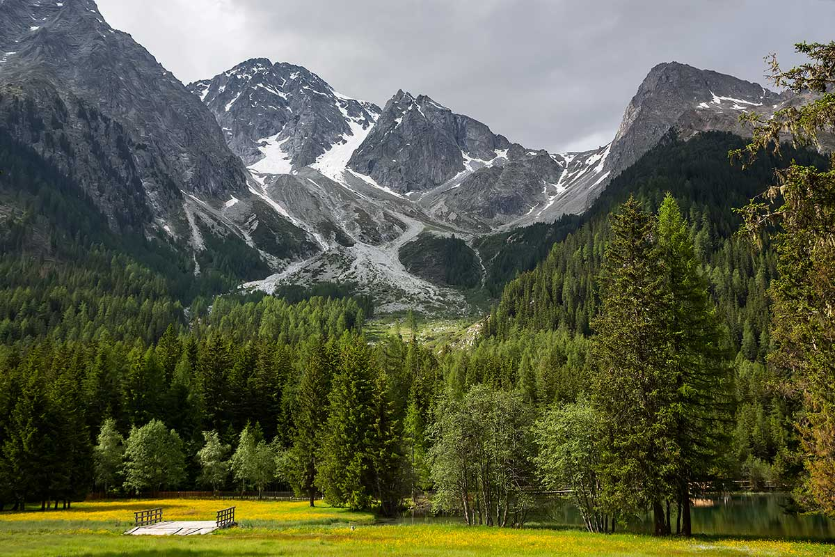 The stunning mountain area around the Antholzer See in South Tyrol, Italy.
