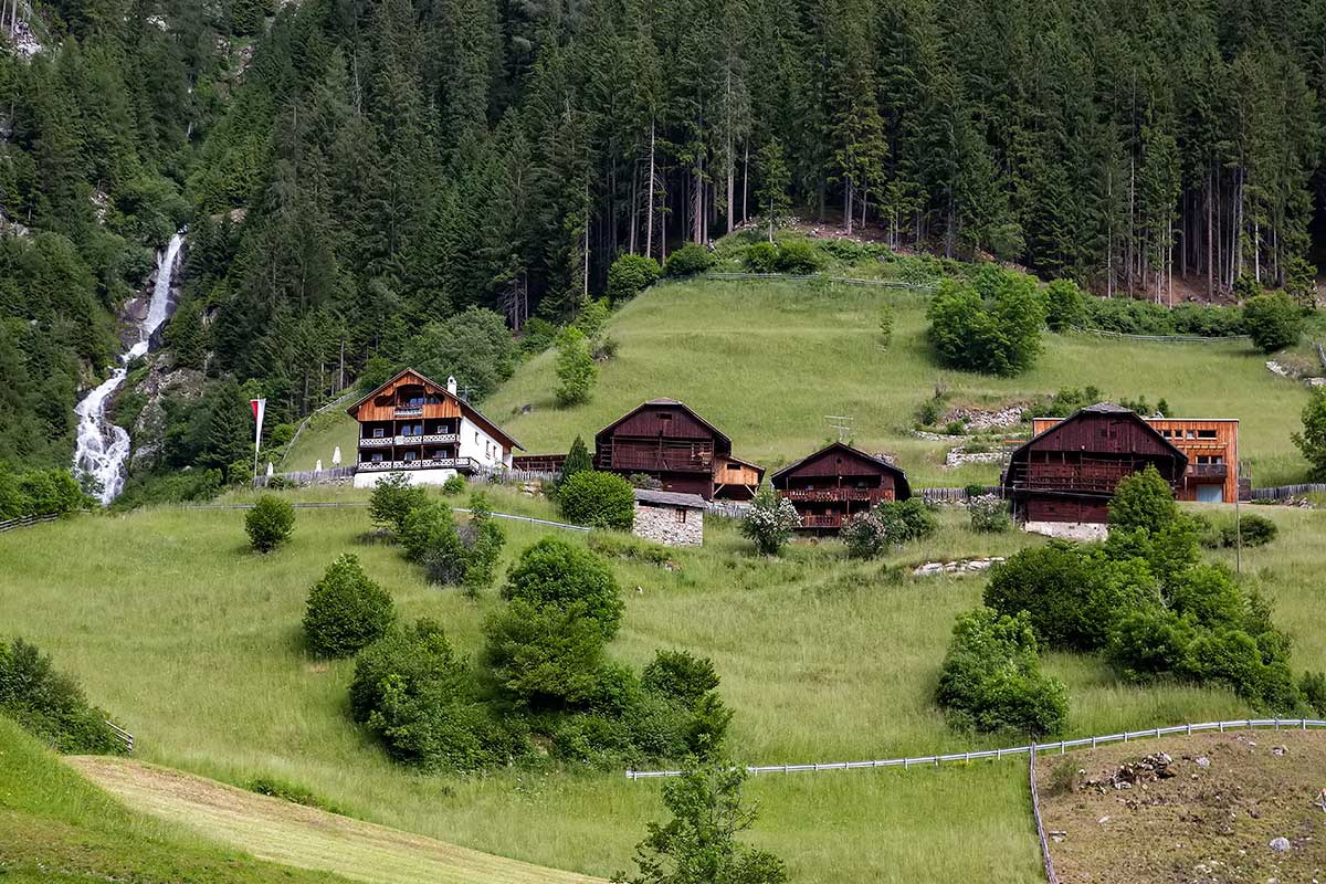 Mountains huts in the area around the Antholzer See in South Tyrol, Italy.