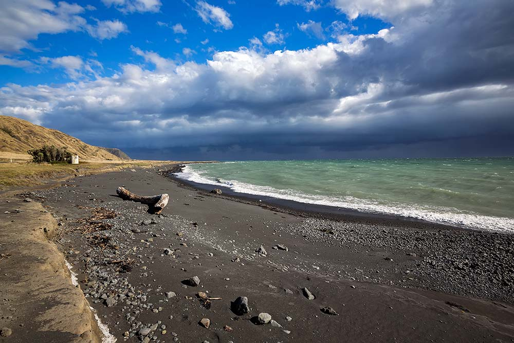The dramatic weather scene along the coastal road on Cape Palliser was a great photo opportunity.