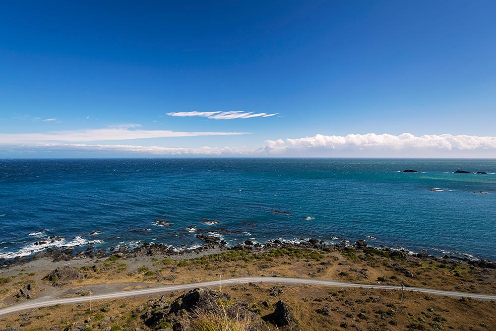 The view from Cape Palliser lighthouse on the North Island of New Zealand.