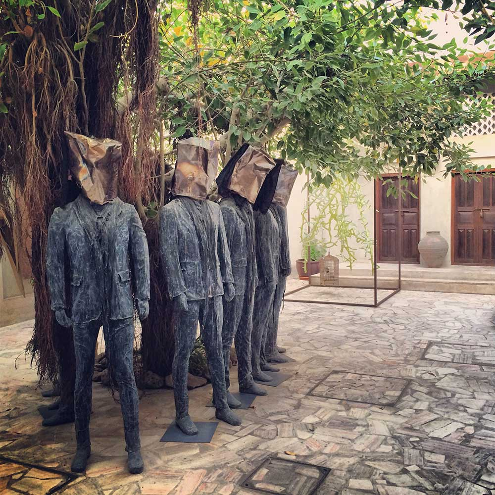 Art pieces in the courtyard of XVA Art Hotel in Dubai.