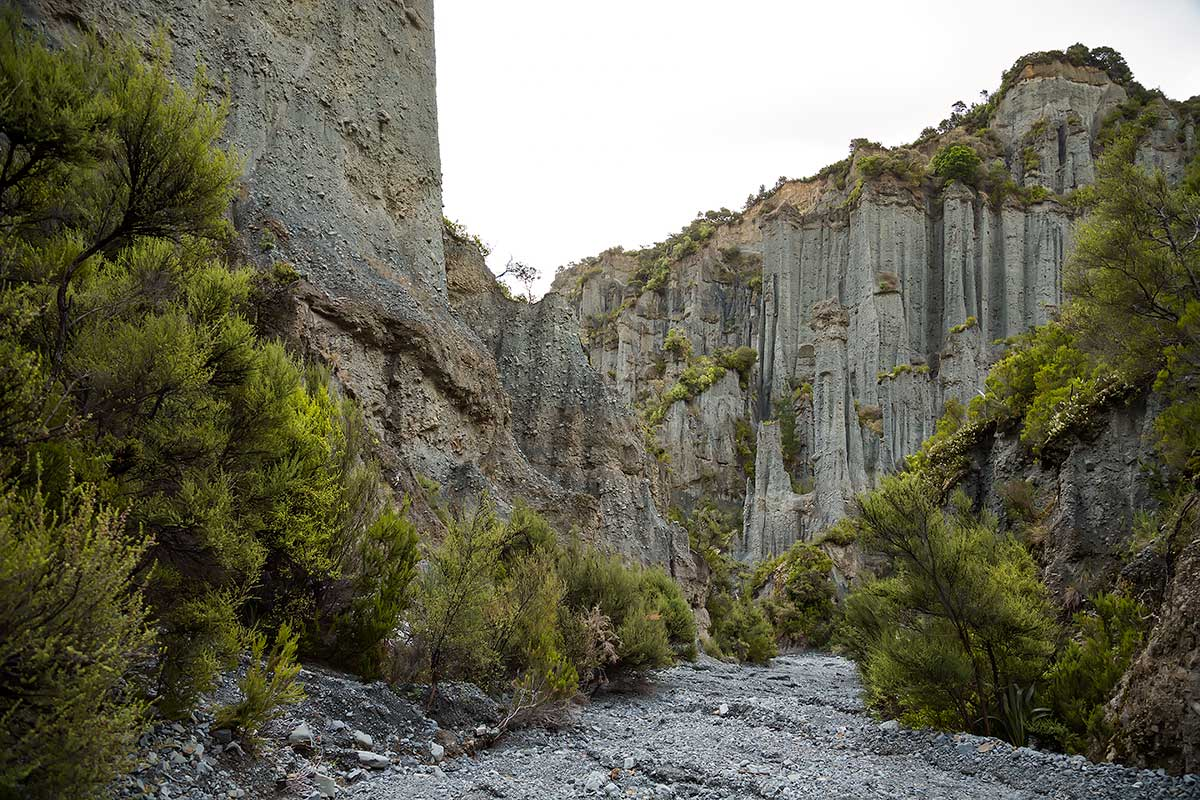 The Putangirua Pinnacles in New Zealand.