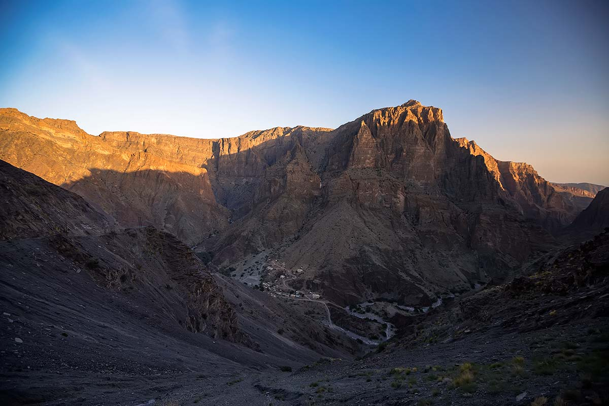 The landscape of Jebel Akhdar in Oman, with Jebel Shams as its highest point.