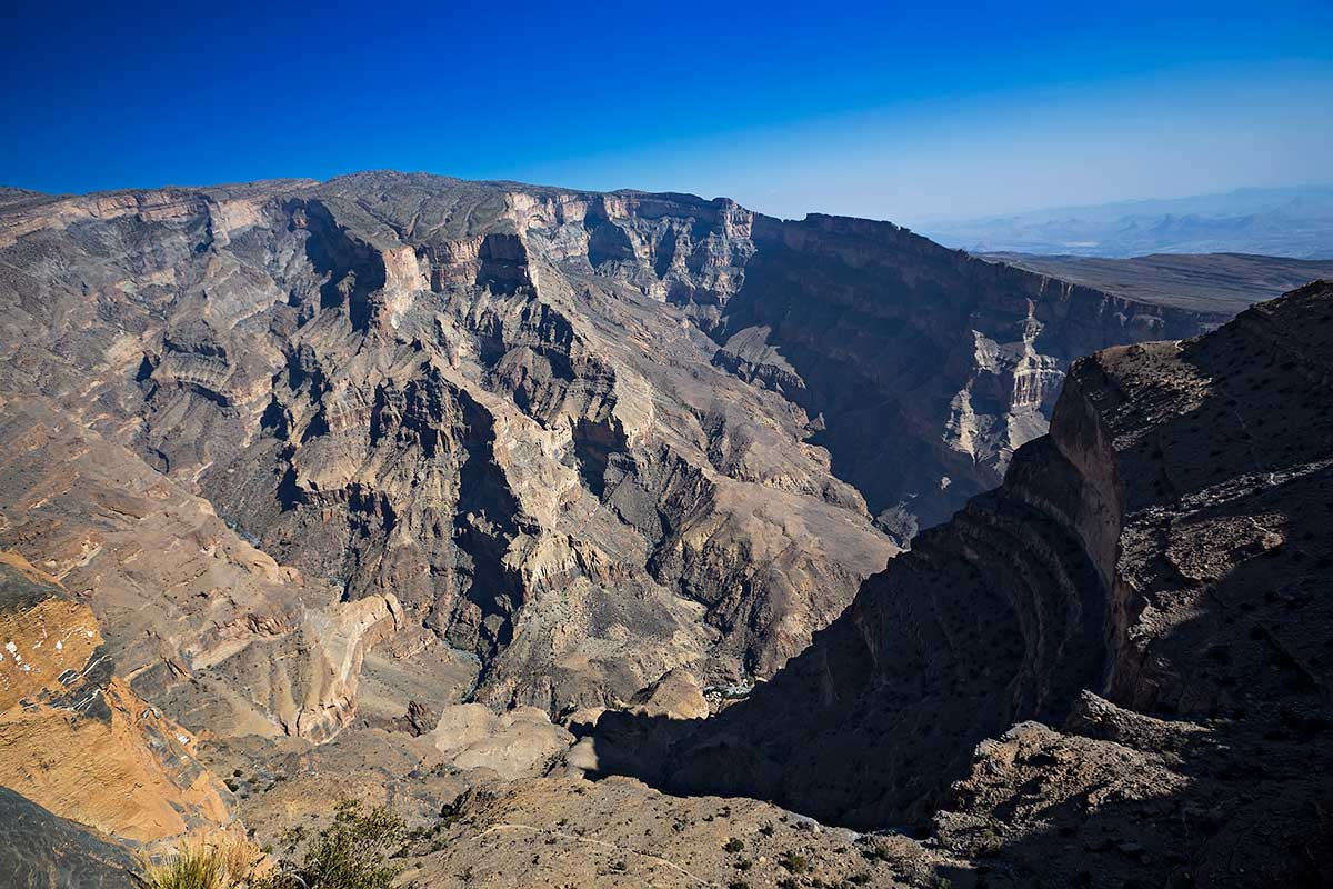The mountains of Jebel Akhdar in Oman, with Jebel Shams as its highest point.