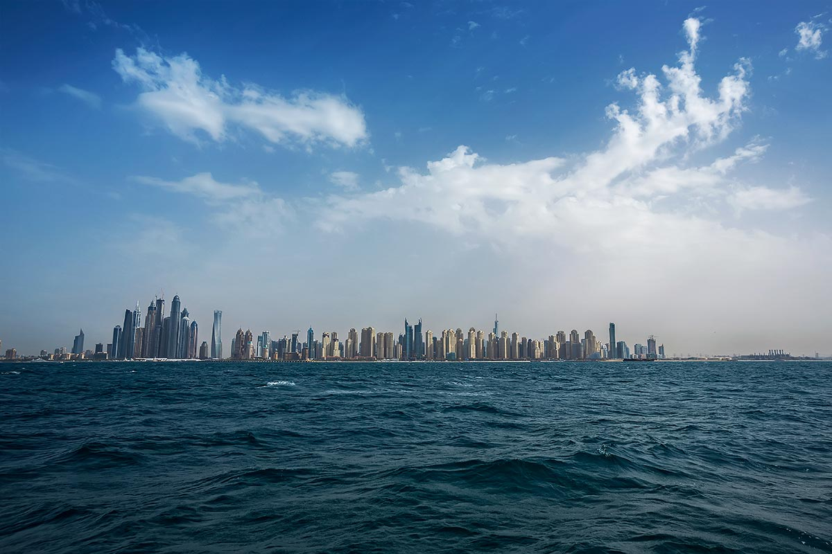 The Dubai Marina is is an artificial canal city, built along a stretch of the Persian Gulf shoreline.