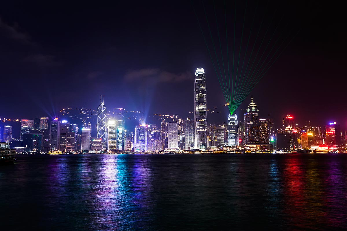 "The ""Symphony of Lights"" laser show is one of the major attractions in Hong Kong."